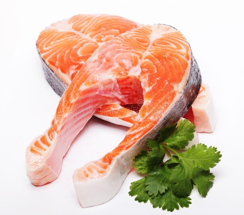 Lax. Röd fiskbiff för ny rå lax. royaltyfri foto