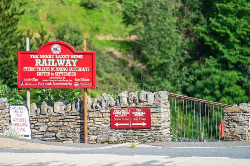 Laxey, het Eiland Man, 15 Juni, 2019 De Grote Laxey-Mijnspoorweg werd oorspronkelijk geconstrueerd om Grote Laxey van het Eiland  royalty-vrije stock foto