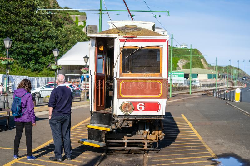 Laxey, Isle of Man, June 15, 2019. The Manx Electric Railway is an electric interurban tramway connecting Douglas, Laxey and. Ramsey in the Isle of Man stock photos