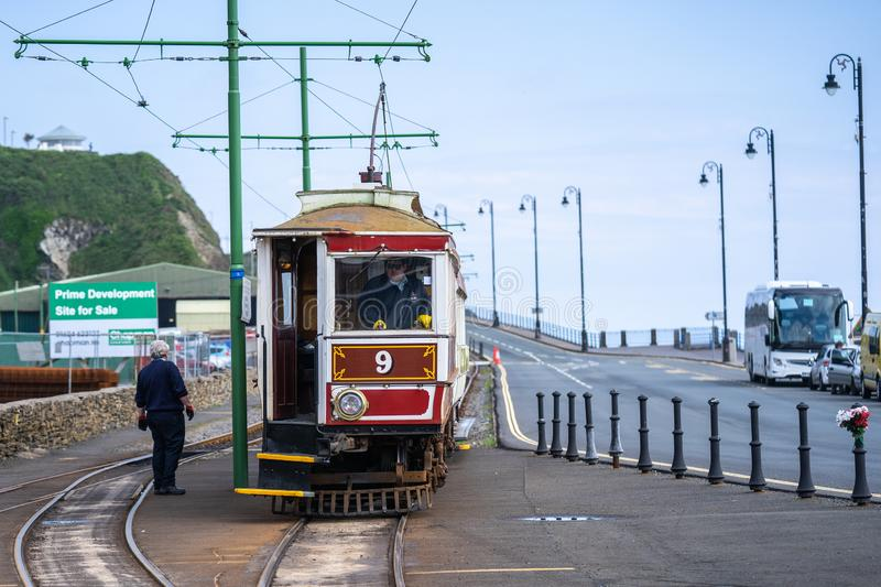 Laxey, Isle of Man, June 15, 2019. The Manx Electric Railway is an electric interurban tramway connecting Douglas, Laxey and. Ramsey in the Isle of Man stock photography