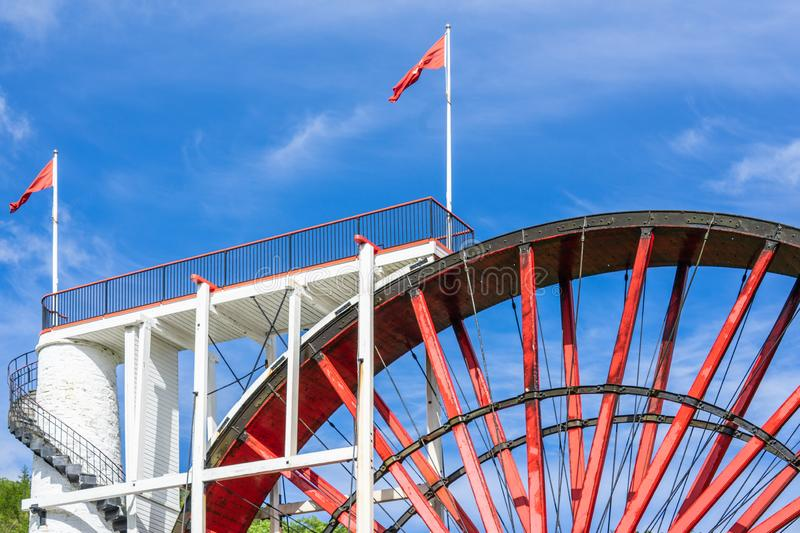 The Laxey Wheel also known as Lady Isabella is built into the hillside above the village of Laxey in the Isle of Man. It is the. Largest working waterwheel in stock photos