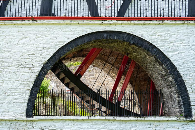 The Laxey Wheel also known as Lady Isabella is built into the hillside above the village of Laxey in the Isle of Man. It is the. Largest working waterwheel in stock images