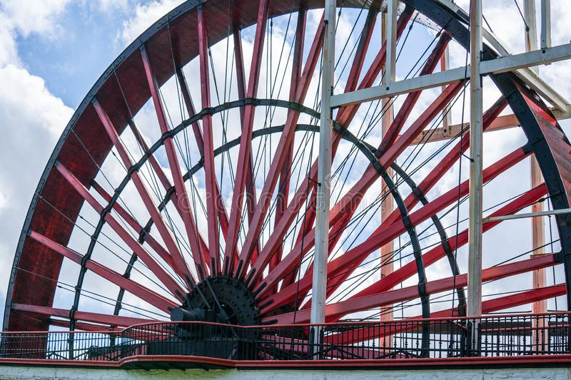 The Laxey Wheel also known as Lady Isabella is built into the hillside above the village of Laxey in the Isle of Man. It is the. Largest working waterwheel in royalty free stock image