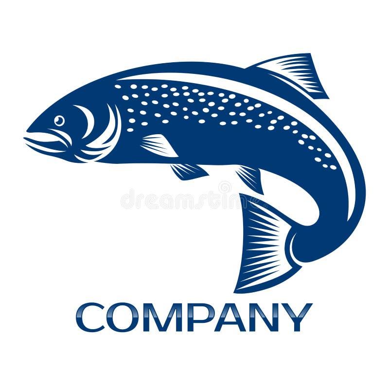 Laxfisk och fiskalogo också vektor för coreldrawillustration stock illustrationer