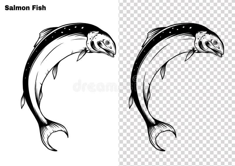 Laxkonst som specificeras högt i linjen konststil Fiskvektor vid handteckningen stock illustrationer