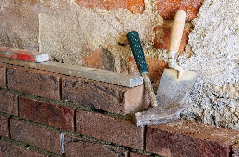 Download Lay a brick wall stock image. Image of brick, construction - 33158597