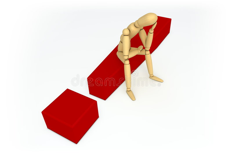 Lay Figure Sitting On Red Exclamation Mark Royalty Free Stock Images