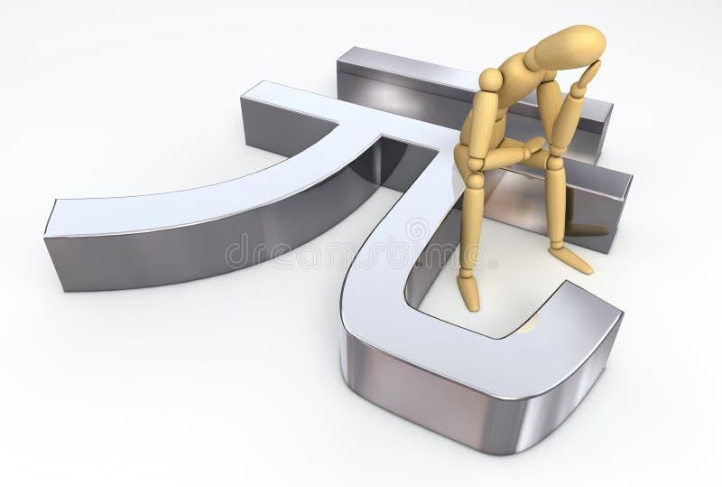 Lay Figure Sitting on Ren Min Bi Symbol stock images