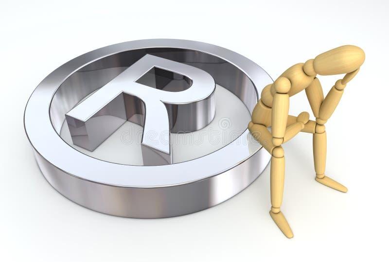 Lay Figure Sitting On Trademark Symbol Stock Images