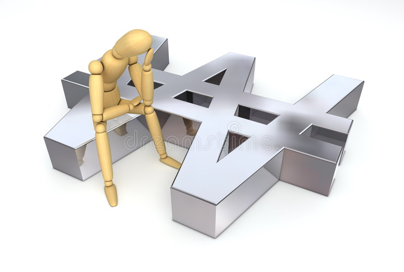 Download Lay Figure Sitting On Won Symbol Stock Illustration - Image: 7194557
