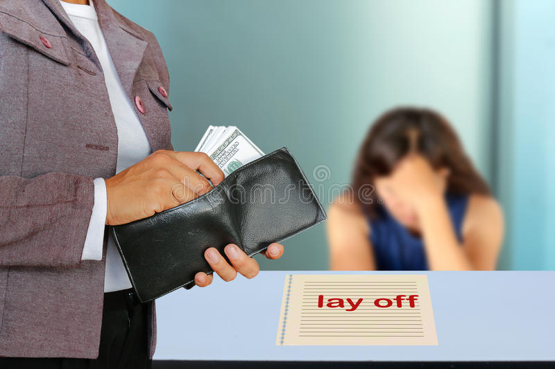 Lay off. The concept of people dismissal or lay off an employee stock photography