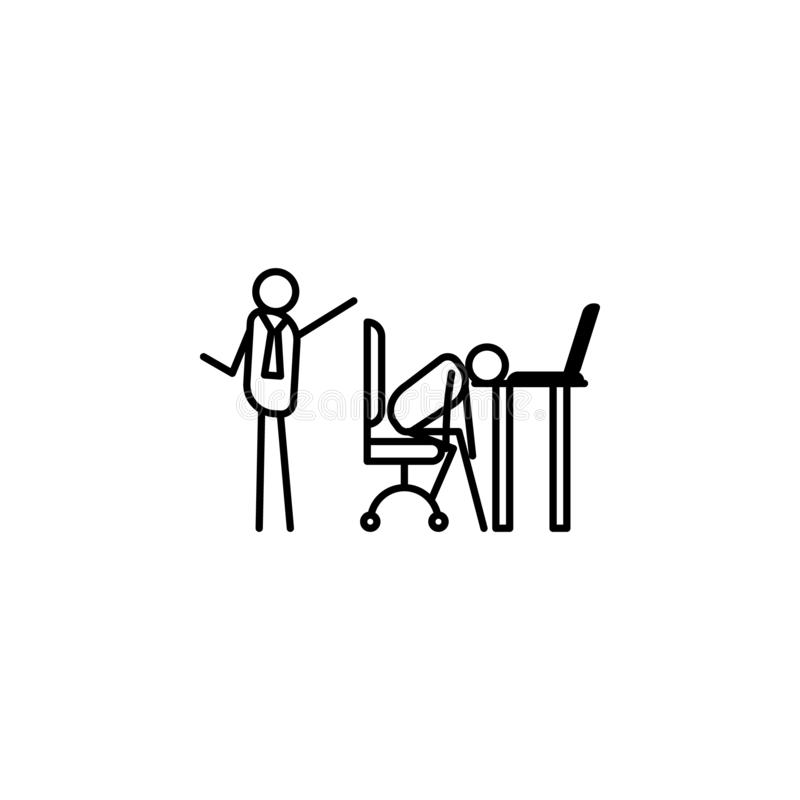 Lay off lazy person outline icon. Element of lazy person icon for mobile concept and web apps. Thin line icon lay off lazy person. Can be used for web and royalty free illustration