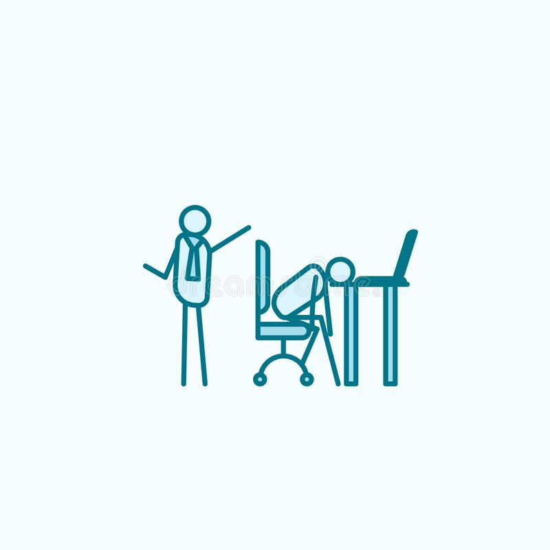 Lay off lazy person outline icon. On white background royalty free illustration