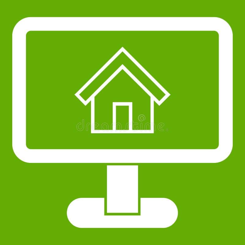 Lay-out van groene huispictogram vector illustratie