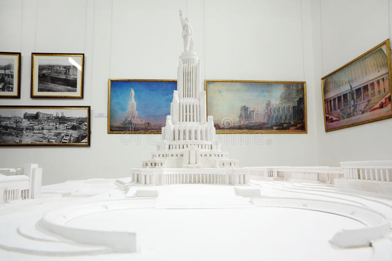 Lay-out van Paleis van Sovjets - unrealized grandioos Stalinist bouwproject stock afbeelding