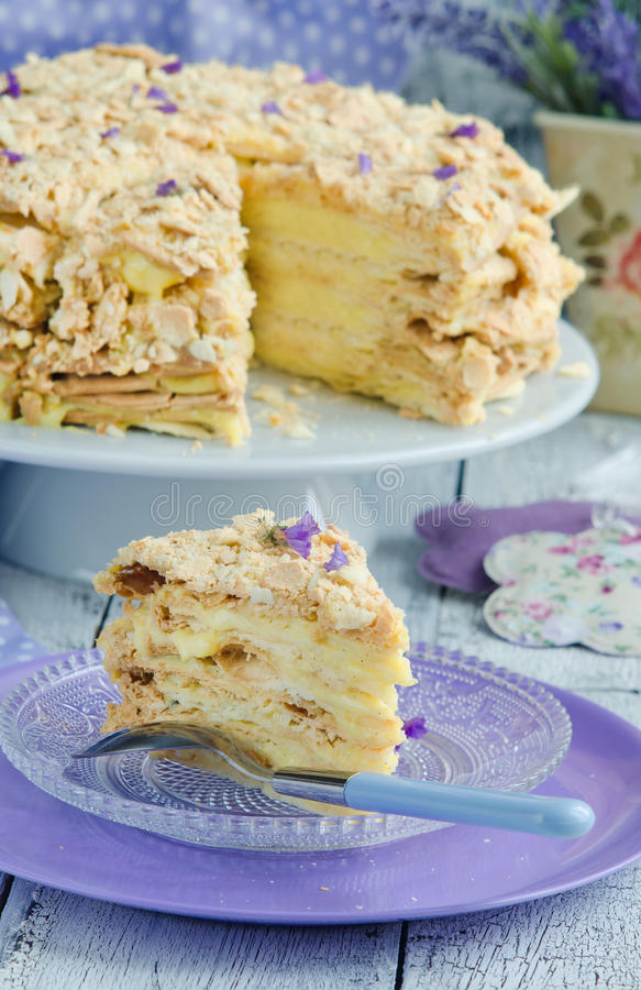 Layer cake Napoleon. With delicious lavender custard stock images