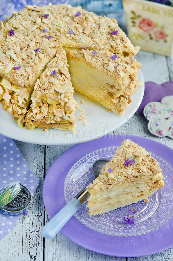 Layer cake Napoleon. With delicious lavender custard royalty free stock image