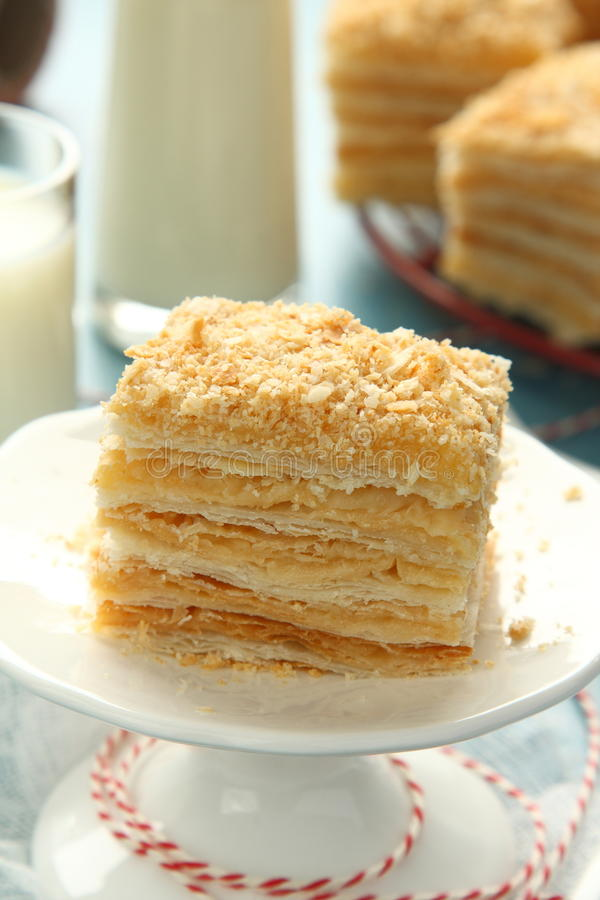 Layer Cake From Puff Pastry With Custard Cream Stock Image Image