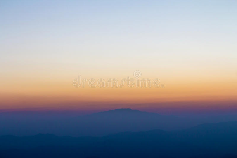 Layer of mountain and skyline. After sunset stock images