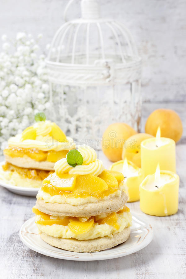 Layer peach cake. Party dessert stock photography