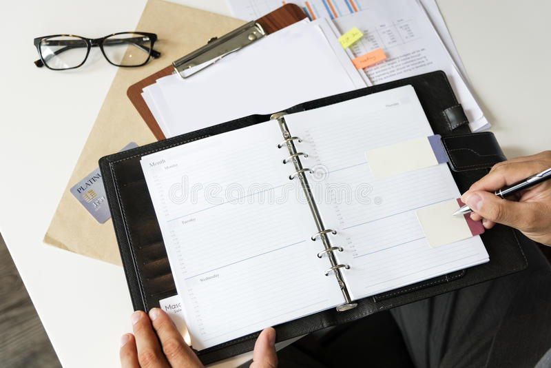 Layer space Open Planner Organizer Concept stock photography