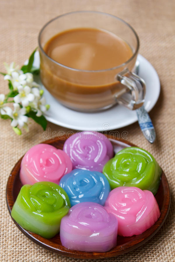 Layer Sweet Cake (Kanom Chan). Layer Sweet Cake (Kanom Chan), kind of Thai sweetmeat and coffee stock photo