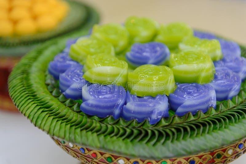 Layer sweet cake Khanom Chan Thai dessert in rose shape. Layer sweet cake Khanom Chan Thai traditional dessert in rose shape royalty free stock photography
