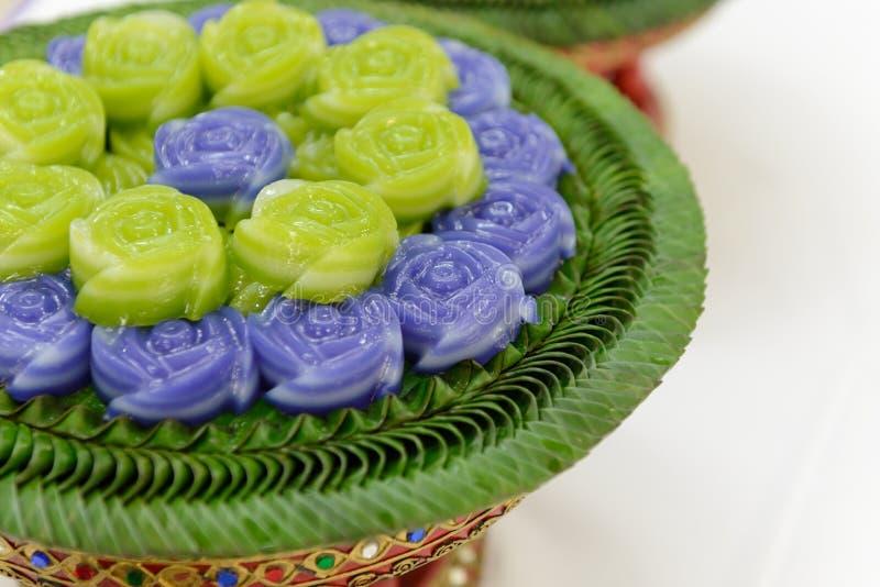 Layer sweet cake Khanom Chan Thai dessert in rose shape. Layer sweet cake Khanom Chan Thai traditional dessert in rose shape stock photography