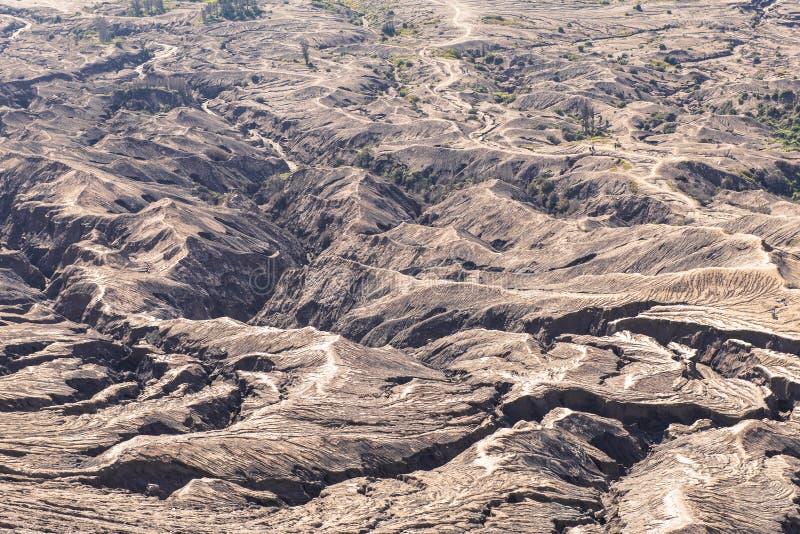 Layer Volcanic ash as sand ground of Mount Bromo volcano & x28;Gunung. Bromo& x29; in Bromo Tengger Semeru National Park, East Java, Indonesia royalty free stock photography
