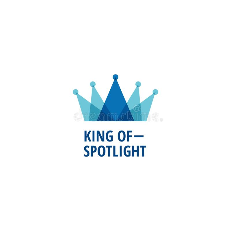 Layered Blue King Crown With Spotlight Logo Sign Symbol Icon vector illustration
