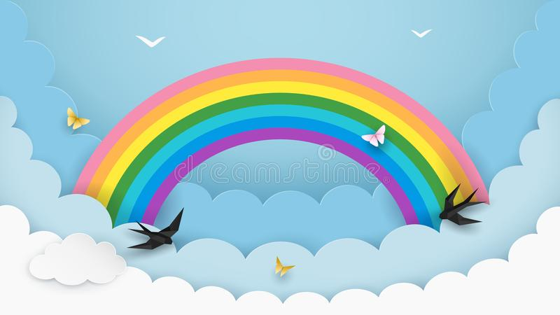 Layered cloudscape background with rainbow, flying birds and butterflies. Fluffy clouds in the sky. Kids room, baby nursery. vector illustration