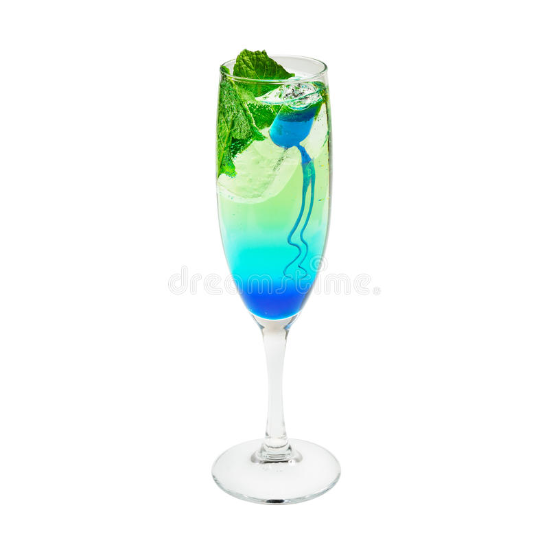 Layered cocktail blue and green. Isolated on white royalty free stock photography