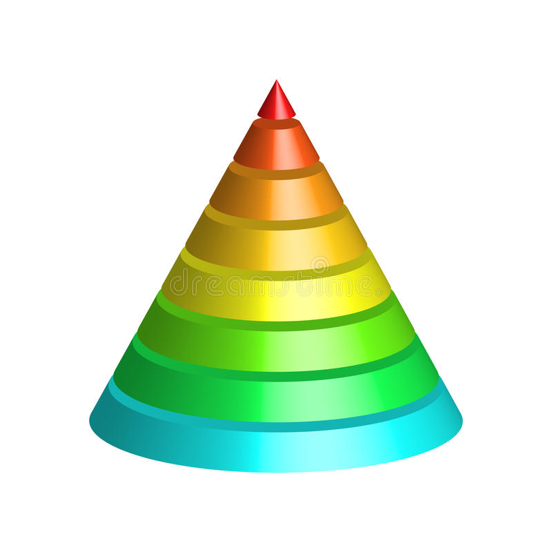 Layered cone. 3D conical pyramid of 8 multicolored rainbow spectrum layers. Vector illustration stock illustration
