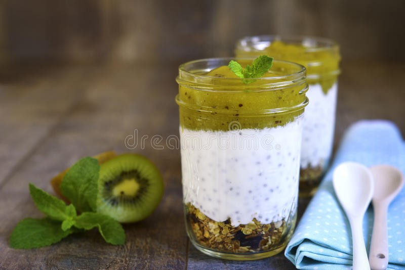 Layered dessert from granola,chia pudding and kiwi smoothie. royalty free stock photos