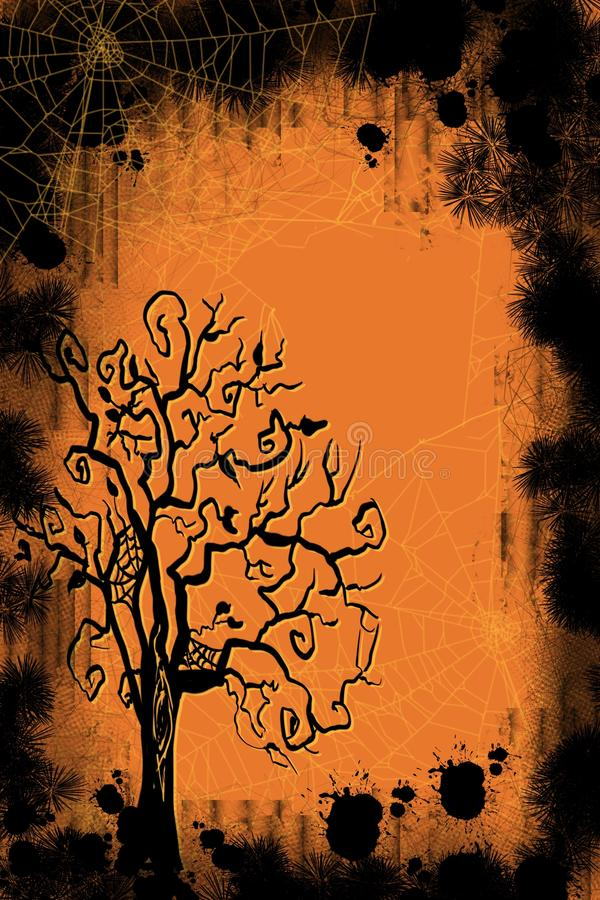 Halloween and fall scene of spooky spider webs grunge background and spooky tree. Layered effect of dimensional gold and orange colors in hand drawn spooky tree stock illustration