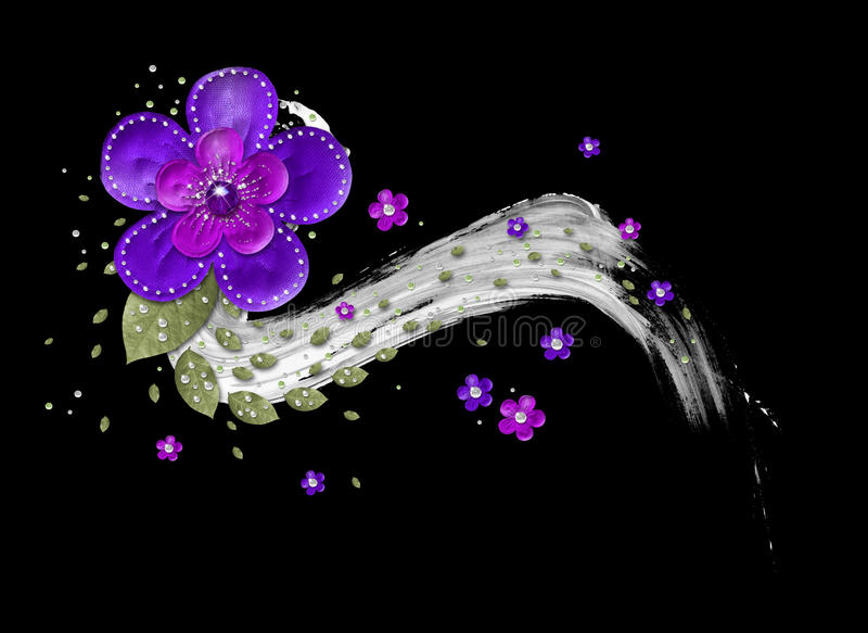 Layered flower element. Layered purple flower element with green leaves and diamonds stock images
