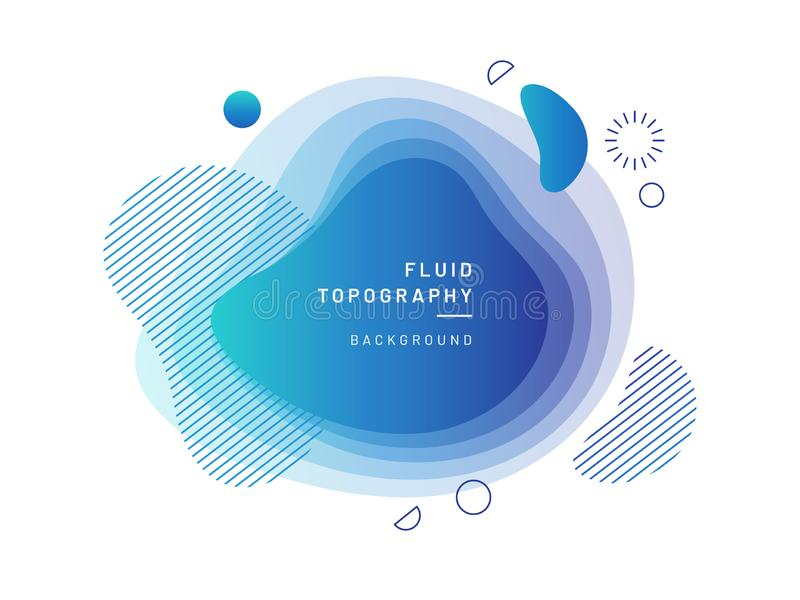 Layered fluid blobs. Blue, azure geometric liquid topography. Abstract blurry free shapes gradient. Brush spot with dynamic colors and circles. Background stock illustration