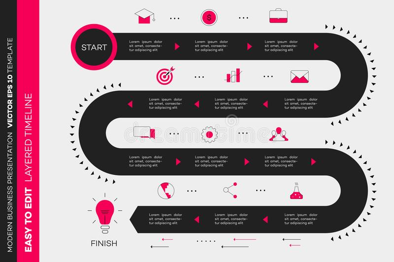 Layered Infographic Timeline Vector Roadmap Template For Stock