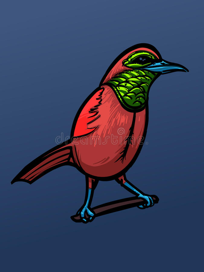 Layered vector red bird on a sea blue background. stock images