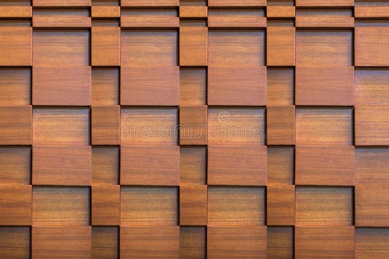 Layers of brown wood decoration on wall.modern decor.texture on wall. Modern style stock photo