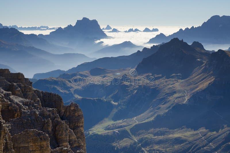 Layers of Dolomites Sass Pordoi, Italy stock image