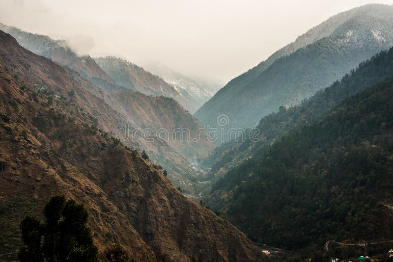 The layers of the foggy mountains in India. The layers of the foggy mountains inIndia royalty free stock image