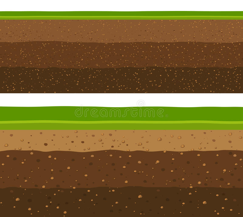 Layers of grass with Underground layers of earth. royalty free illustration