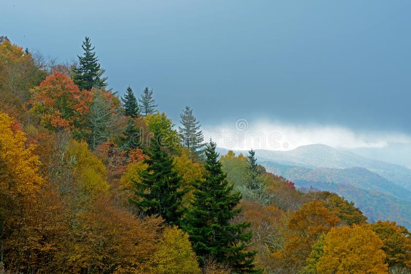 Layers of the Great Smoky Mountain stand out in in fall colors. royalty free stock images