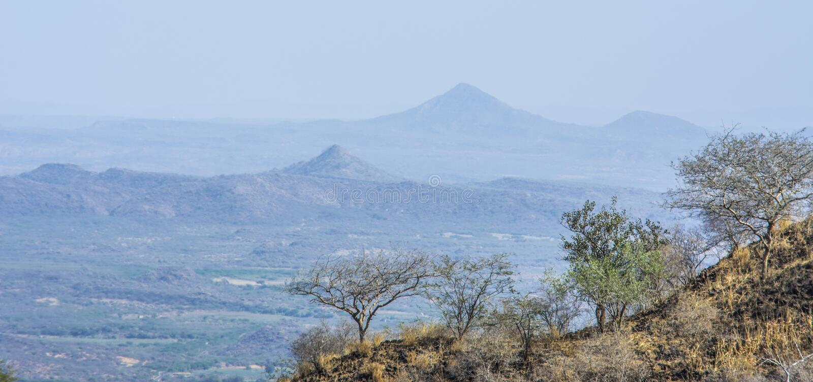 3 Layers of mountains with dry forest stock photo