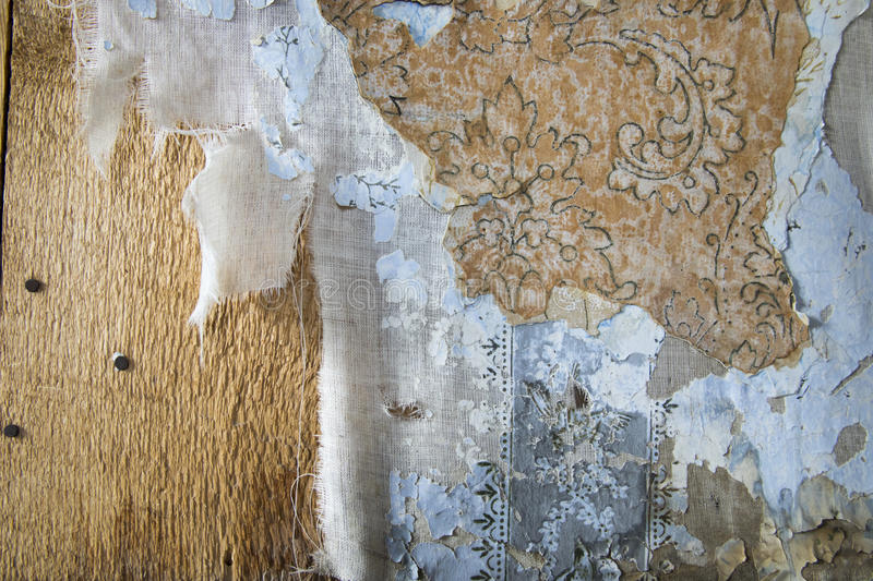 Layers of peeling wallpaper, Bodie, California royalty free stock photo