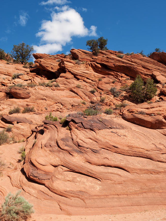 Layers On A Red Sandstone Cliff Royalty Free Stock Photos