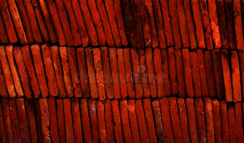 Layers of red terracotta tiles texture stock image