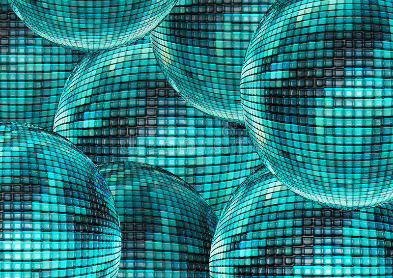 Layers of shiny blue teal black and grey disco balls as background stock images