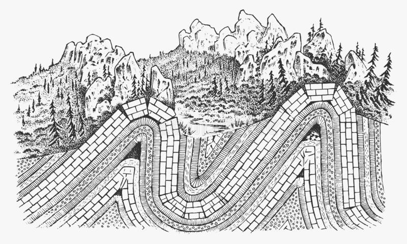 Layers of tectonic plates concept. Lithosphere and the structure of the earth. Soil and Limestone. Geography geology. Background. The scheme of the formation of stock illustration